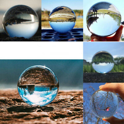 Clear Glass Crystal Ball Healing Sphere Photography Props Lensball Kristallkugel