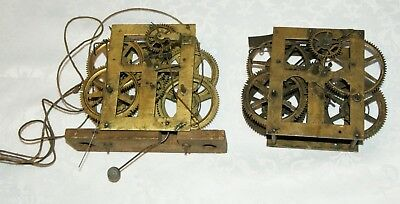 2 x Antique (USA?) Shelf/Wall Clock Movements, Spares/Repair/Parts