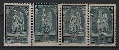 """FRANCE STAMP YVERT N° 259/259c """" CATHEDRALE REIMS 3F 4 TYPES"""" NEUFS xx TTB T539"""