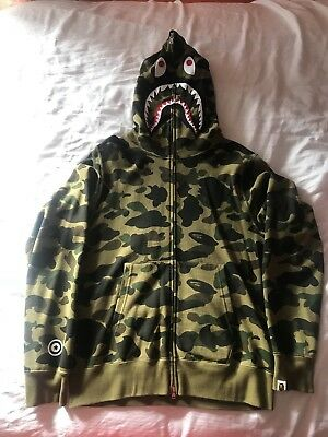 c3be7a721b6f A BATHING APE Bape Men Shark 1st Green Camo WGM Full Zip Hoodie Size ...