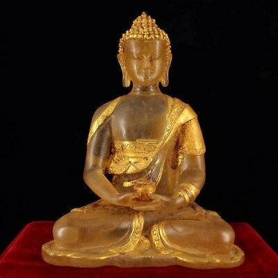 Chinese Antique Natural crystal hand-carved gilded Buddha statue