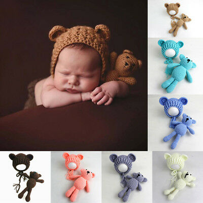 Newborn Baby Boy Girl Photography Prop Outfit Photo Knit Crochet Doll + Hat AU