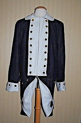 Revolutionary War Colonial Army Frock Blue w/White Facings - Size 44
