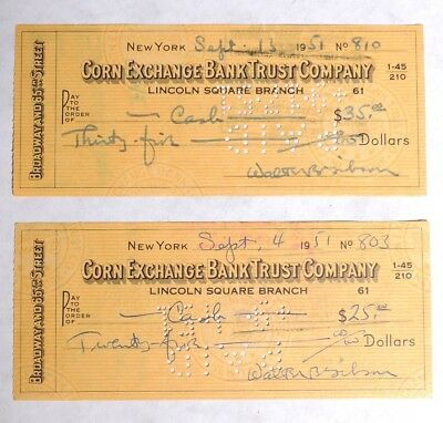ESZ8524. Vintage: The Shadow Author WALTER GIBSON SIGNED CHECK Autograph (1951)