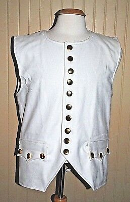 Revolutionary War Colonial Vest White w/Brass Buttons - Size 50