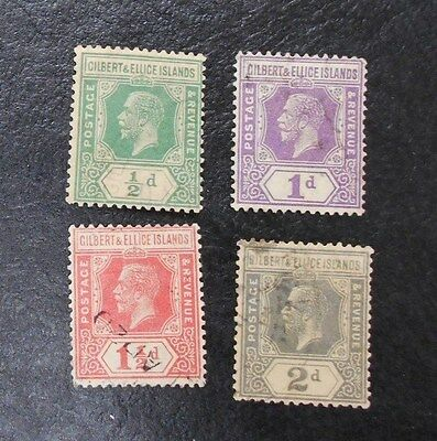 GILBERT & ELLICE ISLANDS 1922 0.5d to 2d SG 27 - 30 Sc 27 - 30 Used