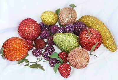 Large Lot Vintage Beaded Sequined Fruit 30 Piece Decorative Display Hand Made