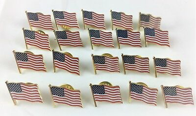 American Flag Lapel Pin 20 Pc Bulk USA United States Hat Tie Tack Badge Small