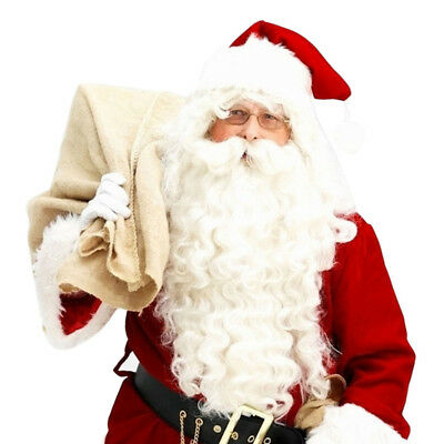 Santa Clause Super Deluxe Adult Wig and Beard Christmas White Curly Full DO