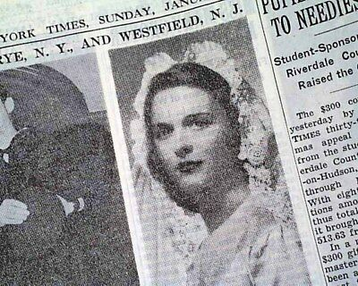 GEORGE H. W. BUSH Barbara Pierce WEDDING & Battle of the Bulge 1945 Newspaper