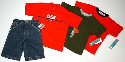 NWT LOT OF 4 ITEMS Mossimo Badge S & 4T Red Green Shirts Denim Jeans Blue Shorts