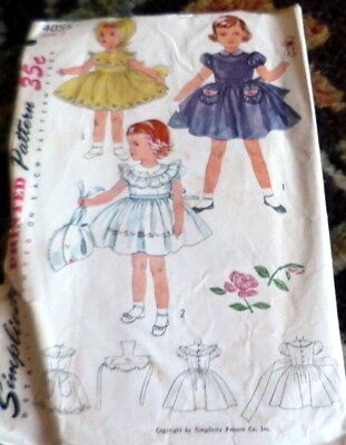 LOVELY VTG 1950s GIRLS DRESS & HAT Sewing Pattern 2