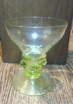 Lovely Antique Uranium Vaseline German Roemer Glass Hand Blown Pontil Mid 1800'S
