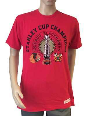 Chicago Blackhawks Mitchell and Ness Red SS Stanley Cup Champions T-Shirt (L)