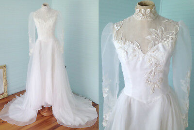 VTG White Organza Wedding Dress Embroidered Lace Pearls Gown Sheer High Neck S