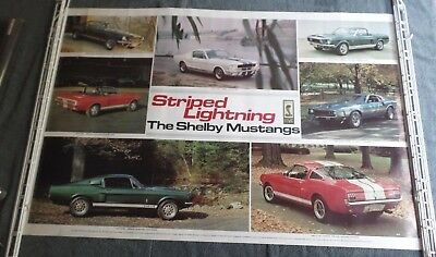 Vintage 1978 Striped Lightning Shelby Mustang Cobra Poster