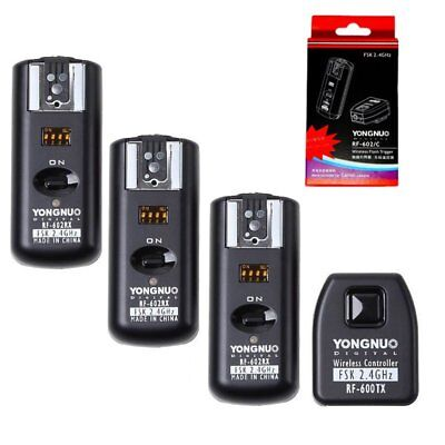Yongnuo RF-602 Wireless Remote Flash Trigger + 3 Receivers for Canon Camera US