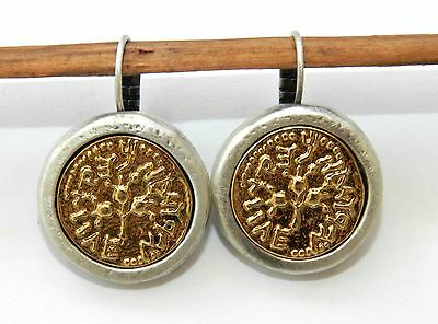 Silver 925 Plated & Gold Israeli Holy Land Antique Roman Coin Dangle Earrings