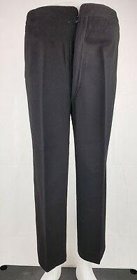 Vintage 1940s Black  High Waist Button Fly Wool Trousers W34 L28 HA32