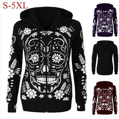 Women Plus Size Long Sleeve Skull Print Zipper Hooded Blouse Pullover Tops Shirt