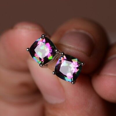 925 Silver Princess Cut Mystic Rainbow Topaz Stud Earrings Wedding Party Jewelry