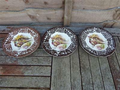Palissy Royal Worcester Game Series Pheasant 3 x sideplates.