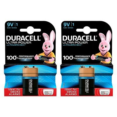2x Duracell 9V PP3 Batteries ULTRA POWER MN1604 with PowerCheck Feature
