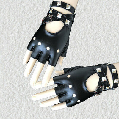 1 Pair Half Finger PU Leather Gloves Rock Punk Style Rivet Fingerless Motorcycle