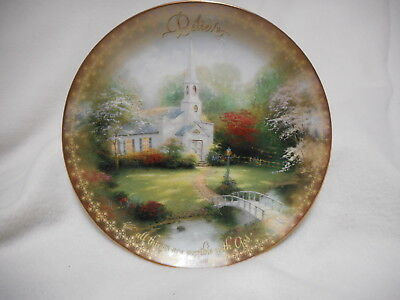 Thomas Kinkade The Spirit Of Life Collection Hometown Chapel BELIEVE Plate