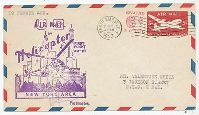 Cpa Pk Ak Aviation U.s.a. Air Mail First Flight Helicoptere Am-Iii New-York 1953
