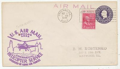 Cpa Pk Ak Aviation U.s.a. Us. Air Mail Helicoptere Service Chicago-Aera 1946