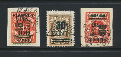 MEMEL -LITHUANIAN OCCUPATION 1923, TRIPLE SURCHARGE SET VFU Sc#N87-90 CAT$700