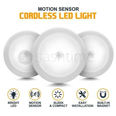 3X Wireless PIR 6LED Auto Motion Sensor Infrared Night Light Cabinet Stair Lamp