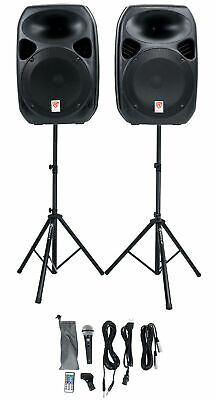 """Rockville (2) 12"""" Bluetooth PA Church Speakers+Mic+Stands 4 Church Sound Systems"""