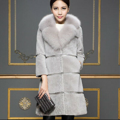 Womens New Mid Long Thick Faux Fur Parka Coat Solid V Collar Winter Outwear lit0
