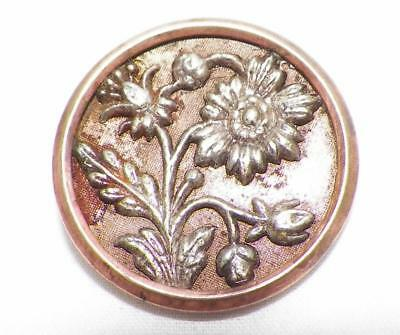 6 Antique Picture Buttons Daisy Flowers Victorian Stamped & Tinted Brass