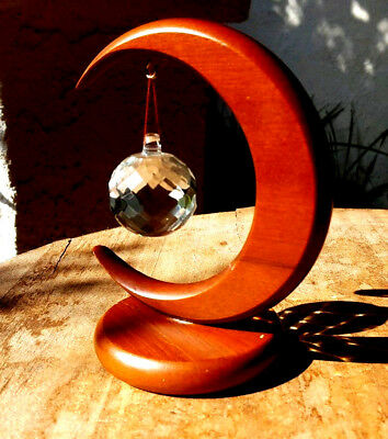 Wood Crescent Moon Stand & Crystal Ball 8.5in T w 1.5in D Crystal