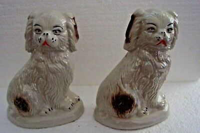 2 Large King Charles Cavalier Spaniel Dog Figurines Sitting