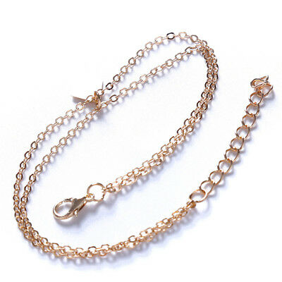 Double Layer Gold Toned Foot Chain Anklet Thin Summer Beach Ankle Bracelet Z