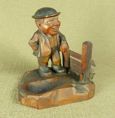 **SUPER** ANRI Carved Wooden PIPE REST/ RACK - COUNTRY GENTLEMAN or FARMER