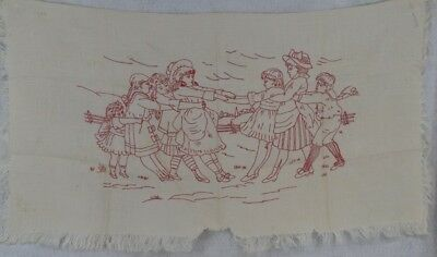 antique red work runner  white cotton stitched original German
