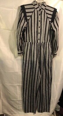 Vintage Jumpsuit By L Rothschild San Francisco Black Gray Striped  Sizes/m?