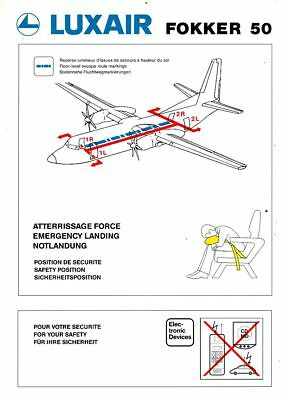 Cpa Pk Ak Aviation Compagnie Luxair  Safety On Board Dash Avion Fokker 50