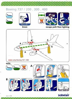 Cpa Pk Ak Aviation Compagnie Sobelair Safety On Board Avion Boeing 737-200 300.4