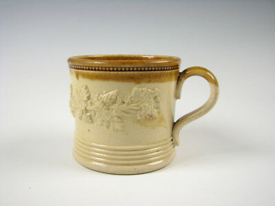 Antique Yelloware Raised Grapevine Grapes decoration Small Mug English Pottery