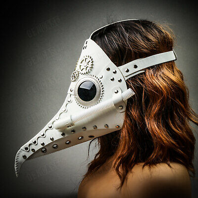 White Plague Doctor Masquerade Mask Steampunk Long Nose for Halloween Costume