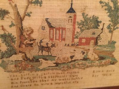 CHRISTIAN SAMPLER CROSSTITCH ANTIQUE 1800's  ORIG. FRAMED ART & VERSE SIGNED
