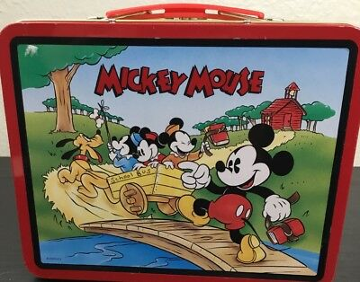 Vintage 1997 Disney Mickey Mouse Metal Tin Lunch Box No Thermos Very Clean