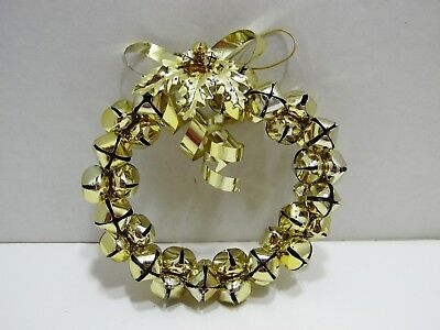 Jingle Bell Christmas Holiday Wreath Gold Metallic Decorative Metal Bow & Holly