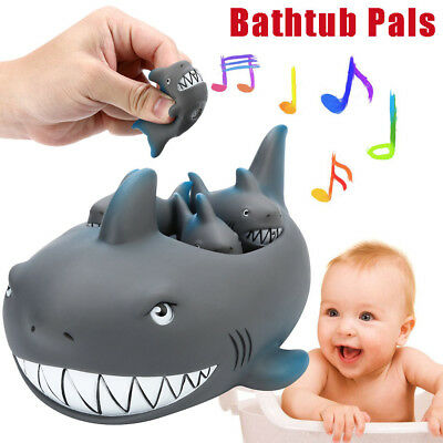 Shrilling Rubber Cute Shark Family Bathtub Pals Floating Bath Tub Toy For Kids A